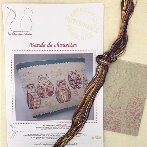 French Embroidery Kit - Band of Owls