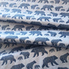 Blue tone, bear family, Scandinavian, design,  Organic Cotton Fabric, sustainability, modern fabric, quilting, handmade, design, home design, interior design, eco friendly, DIY, patterns, cotton, apparel, sewing, sustainable fashion