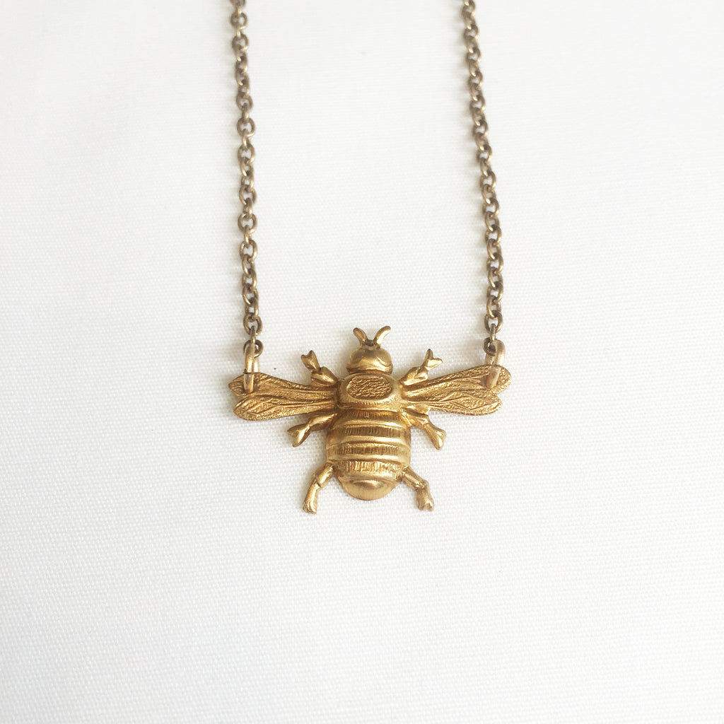 Mini Bee Necklace in Brass by Larissa Loden
