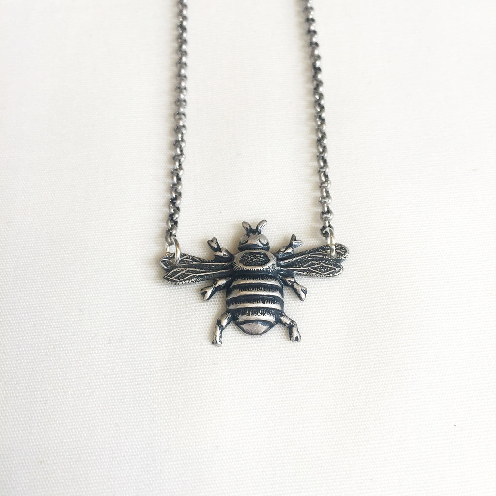 Mini Bee Necklace in Silver by Larissa Loden