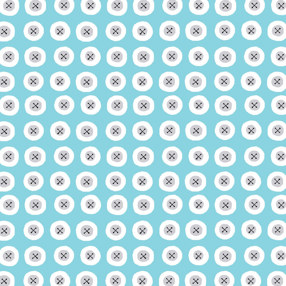 Buttons Blue Organic Fabric by Monaluna