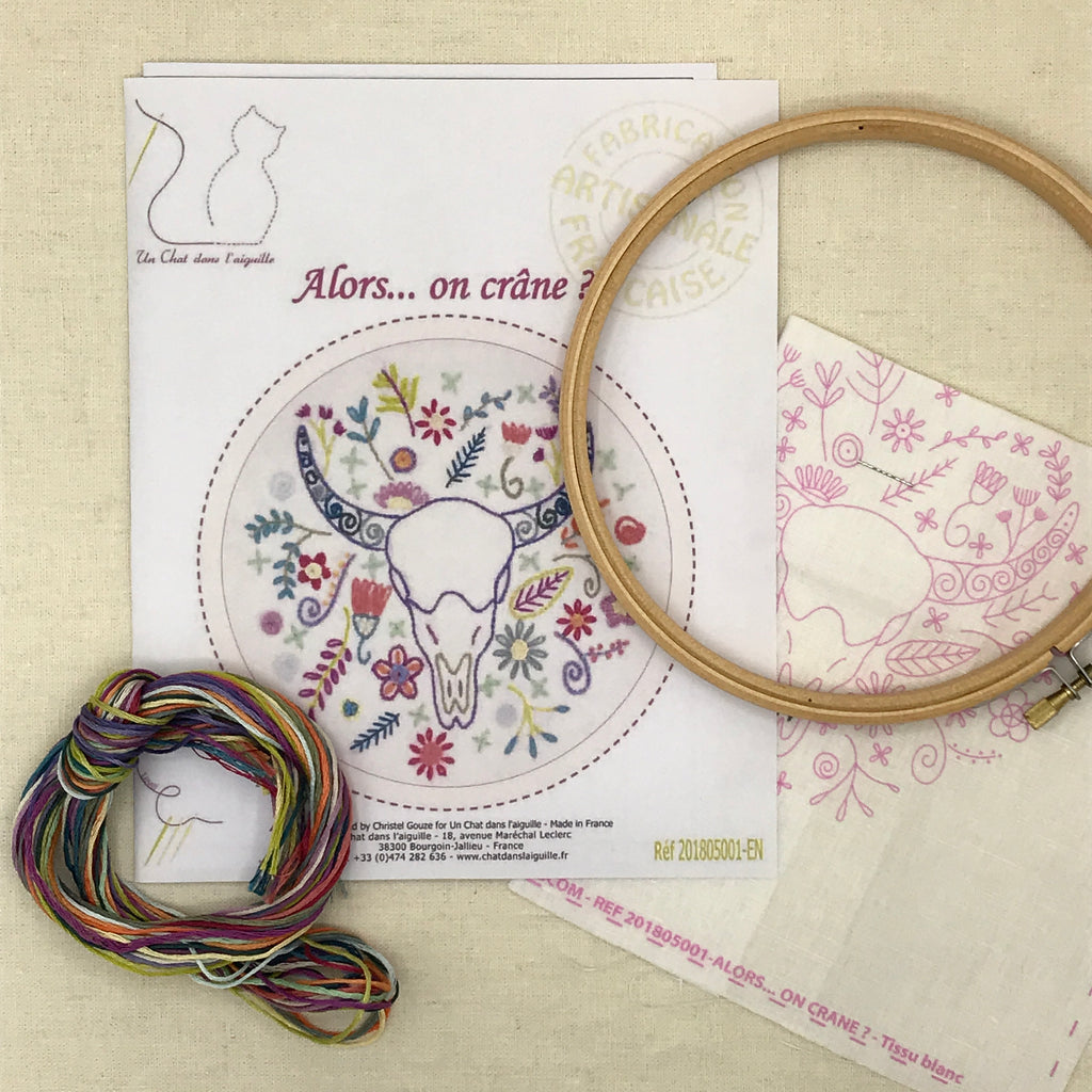 French Embroidery Kit - Cow Skull