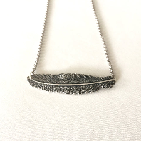 Silver Feather Necklace by Larissa Loden