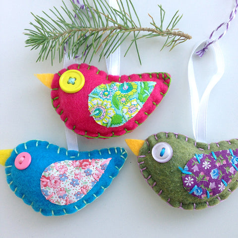 Eco-felt Bird Ornaments