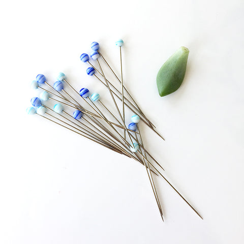 Tulip Glass Head Pins (Aosora-Blue)