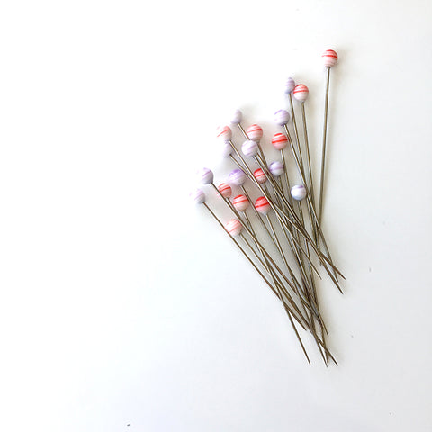 Tulip Glass Head Pins (Akari-Red&Purple)
