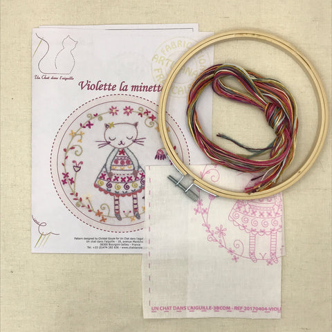 French Embroidery Kit - Kitty