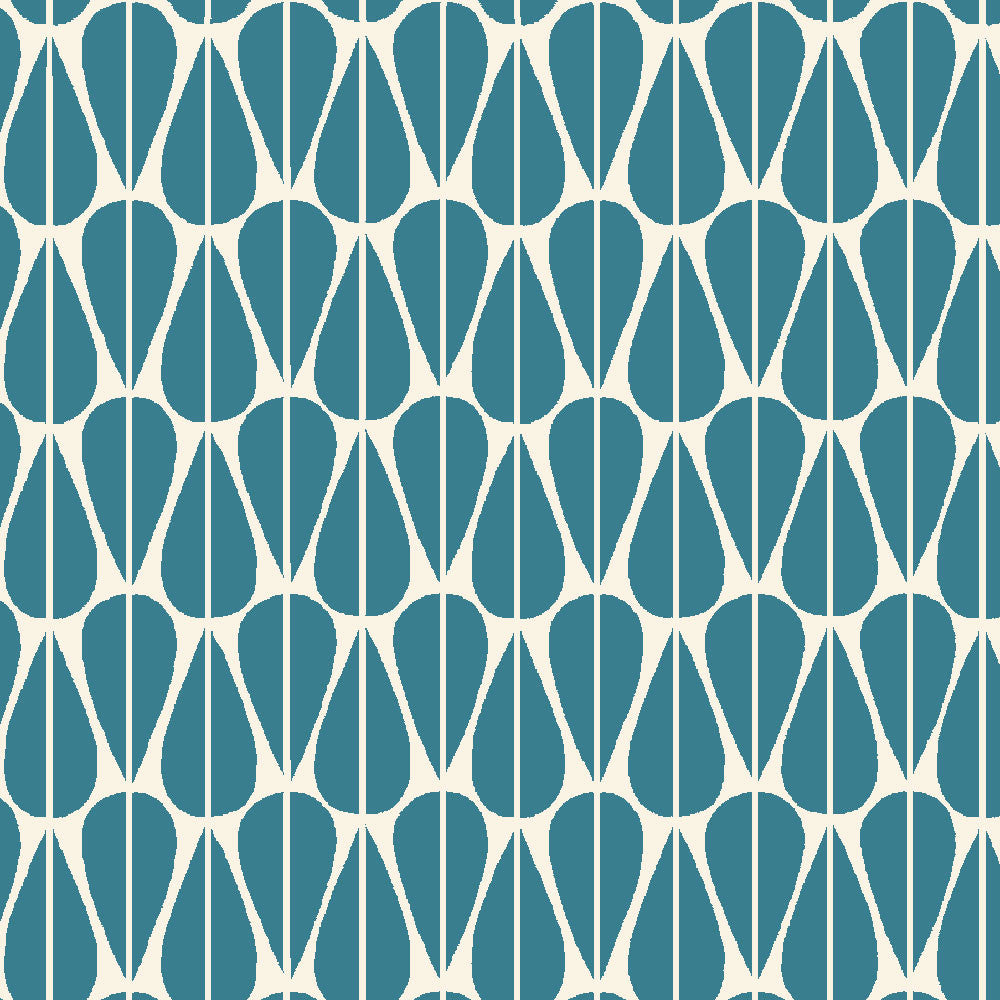 Little Leaves Teal Organic Fabric by Monaluna