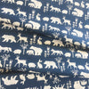 Simple Life, White forest creatures featured on a navy background, Scandinavian, design,  Organic Cotton Fabric, sustainability, modern fabric, quilting, handmade, design, home design, interior design, eco friendly, DIY, patterns, cotton, apparel, sewing, sustainable fashion