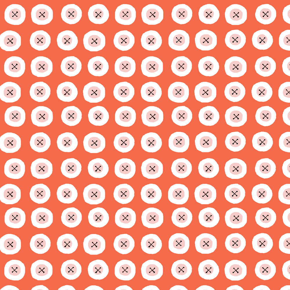 Buttons Red Organic Fabric by Monaluna
