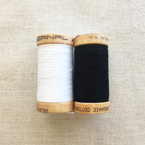 Scanfil Organic Cotton Thread Black & White - 300 yards