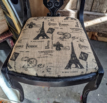 Load image into Gallery viewer, Ornate Painted Chair with Paris Grain Sack Seat