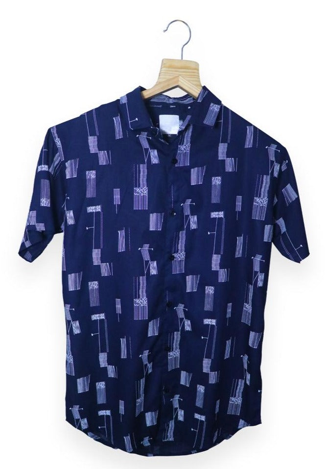 Blue Printed Half Shirt (SH140)