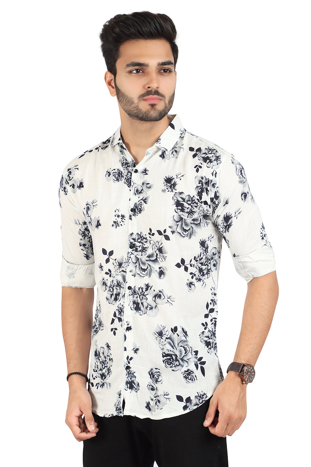 White Floral Printed Shirt (SH200)