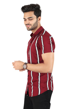 Maroon Striped Printed Half sleeved Shirt (SH100)
