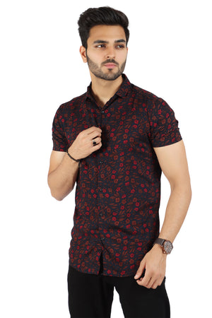 Red Floral Half sleeved Shirt (SH310)