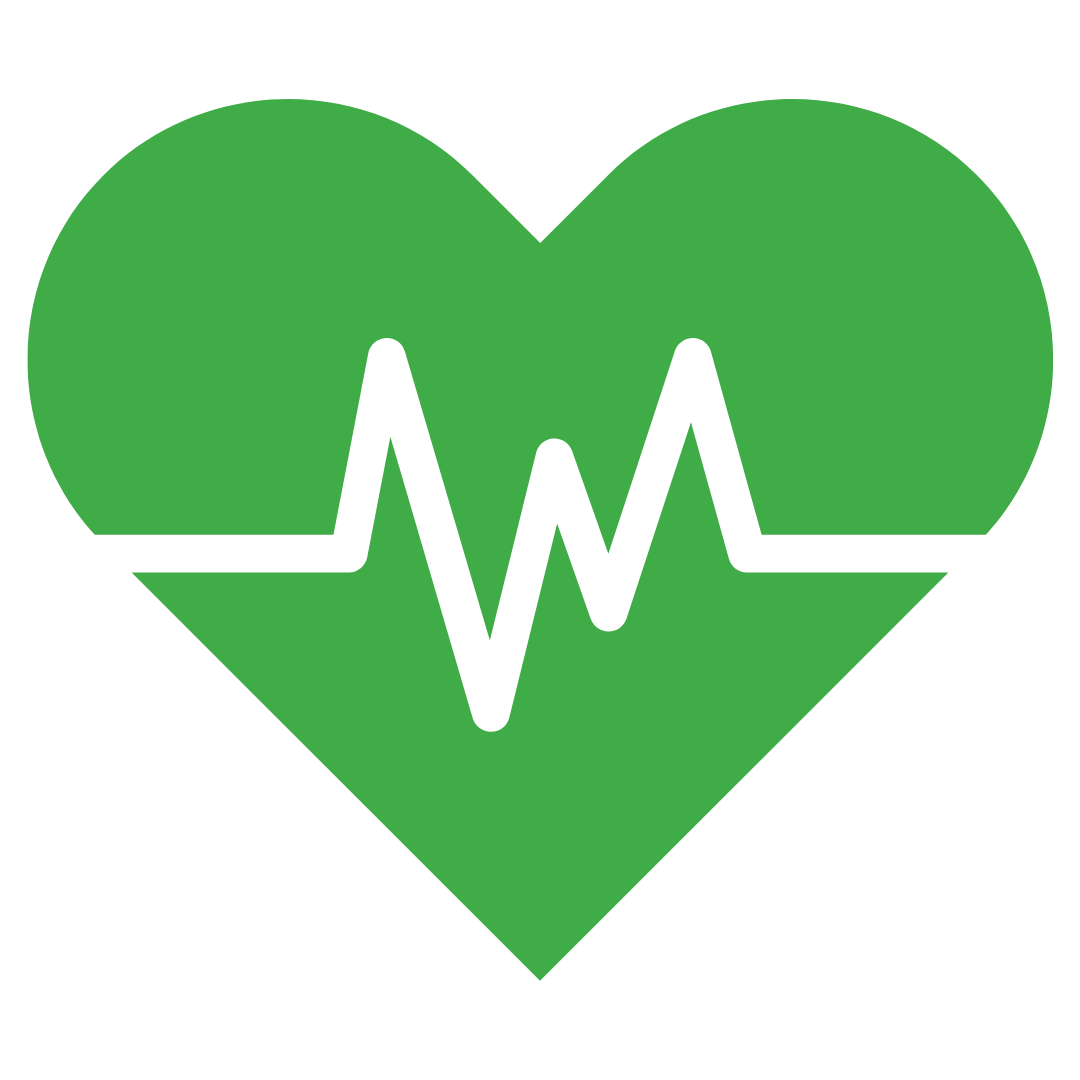 A green heart icon with a white ECG line going through it representing cow health.