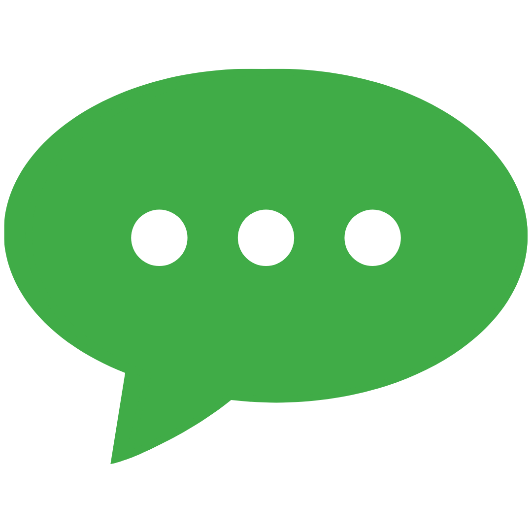 A green thought bubble icon with three white typing dots in the middle.