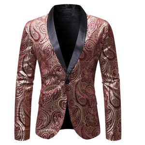 Luxury Men Fashion V-neck Suit Blazer