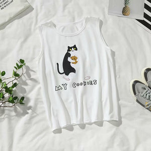 Couple cat print sleeveless Tees