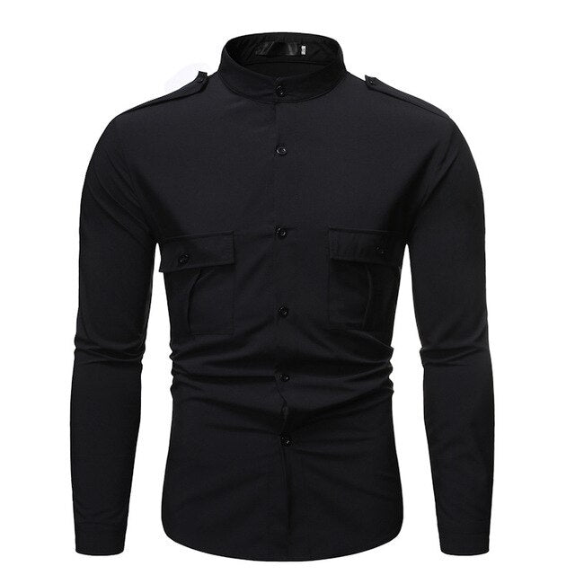 Men's Stand Collar Military Wind Shirt
