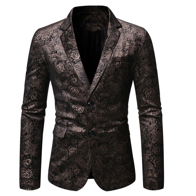Casual Bronzing Printed Slim Suit
