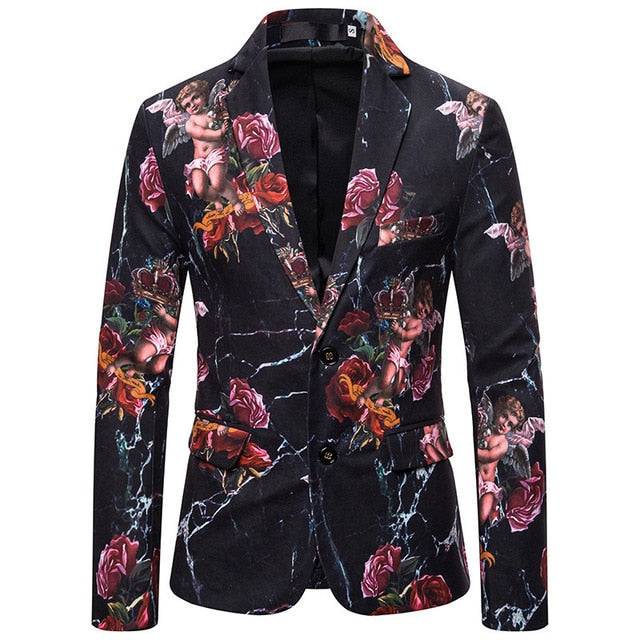 Floral Pattern Slim Fit Blazer
