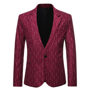 Men Printed Business Casual Blazer