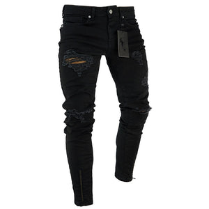 Black Stretch Skinny zipper Jeans