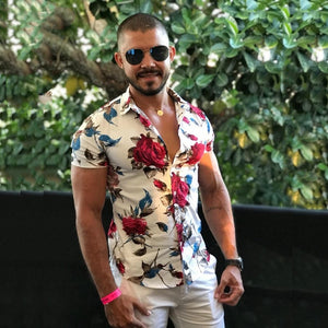 Slim Fit Short Sleeve Floral Shirt