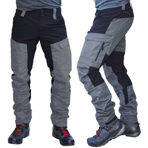 Casual Men Fashion Color Block Multi Pockets Sports Long Cargo Pants Work Trousers for Men