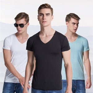 Slim stretch V-neck solid color t-shirt