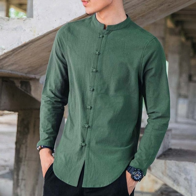 Long Sleeve Button Solid Casual Shirt