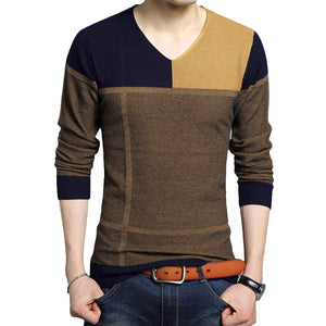 Casual V-neck Color Matching Sweater