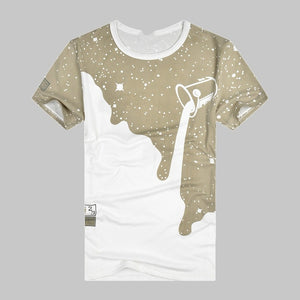 Milk Poured Pattern Inverted T Shirt