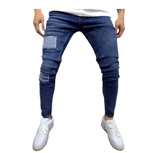 Casual Splicing Personality Printing Jeans