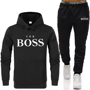 Tracksuit Men Fashion Hoodies Men Suits Brand Yes Boss Sets Men Sweatshirts+Sweatpants Autumn Winter Fleece Hooded Pullover