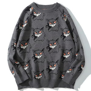 Sweater Men Harajuku Gengar Hip Hop Streetwear Men Clothing Spandex Pullover O-neck Oversize Fashion Casual Couple Male Sweaters