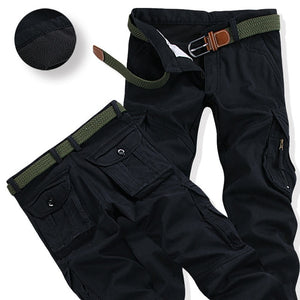Mens Winter Pants Thick Warm Cargo Pants Casual Fleece Pockets Fur Trouser Plus Size 38 40 Fashion Loose Baggy Joger Worker Male