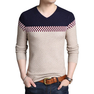 Casual Patchwork V-neck Cotton Sweater