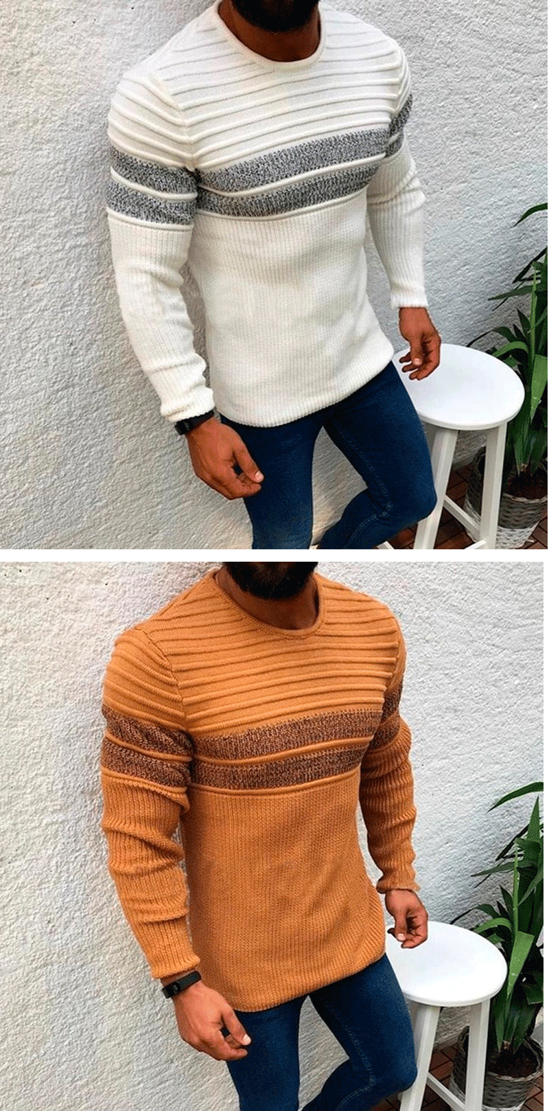 Long Sleeve Men Ripped Sweater