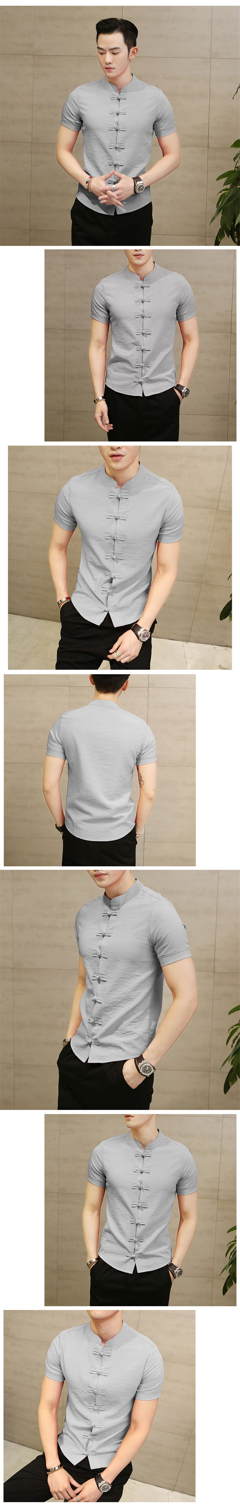 Linen Slim Fit Short Sleeves Shirt
