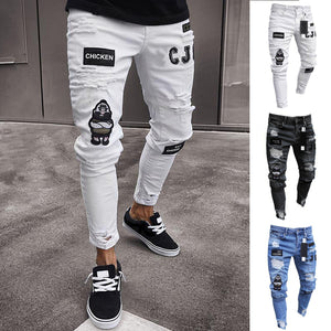 Hole Pockets Skinny Stretchy Jeans