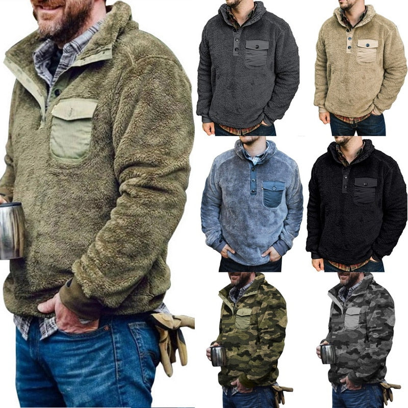 Casual Plush Men's Clothing Sweatshirt