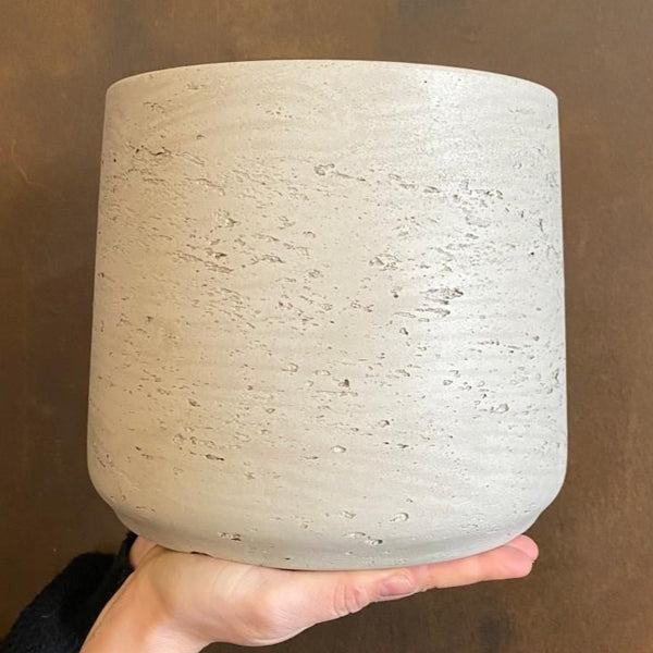 Tapered Fibreclay Pot - Stone Washed | 21cm (x large)