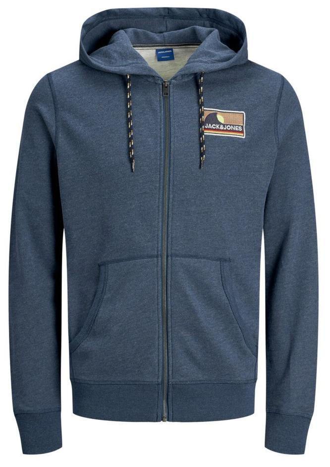 Jack & Jones REXPLORE Sweat Zip Hoodie: Ensign Blue | White Melange - Mens - Stokedstore