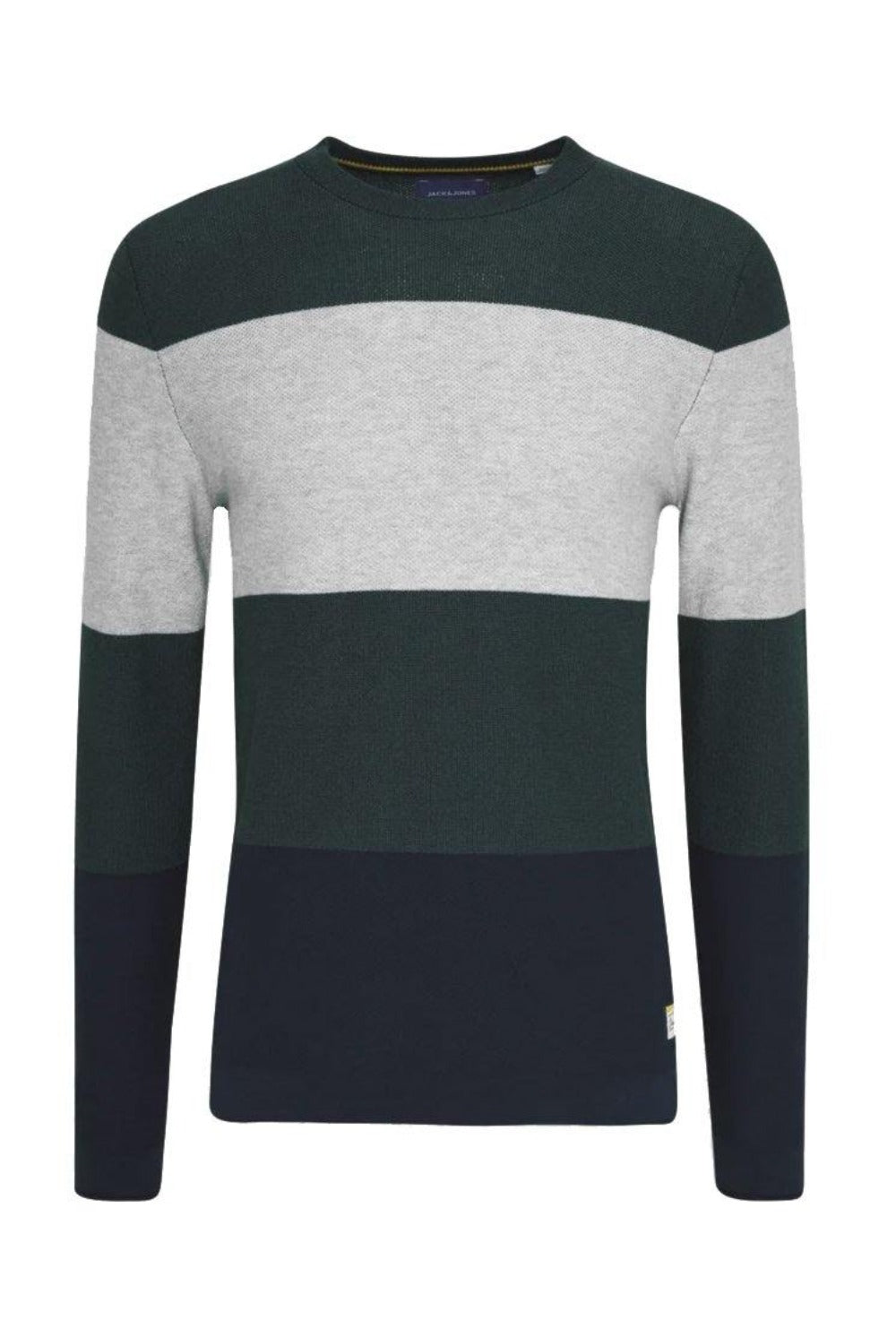 Jack & Jones FLAME Knit Crew Neck Jumper: Trekking Green - Mens - Stokedstore