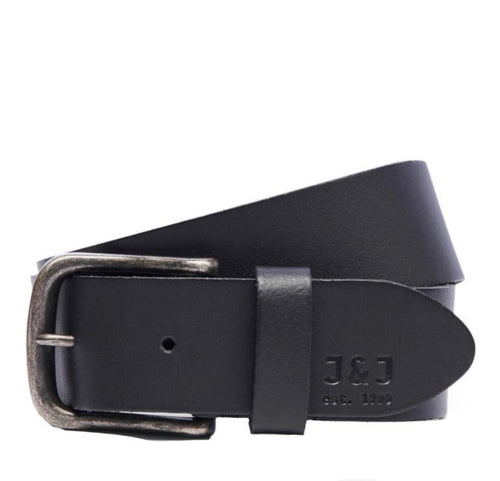 Jack & Jones DAVID Leather Belt: Black | Black Coffee - Mens - Stokedstore