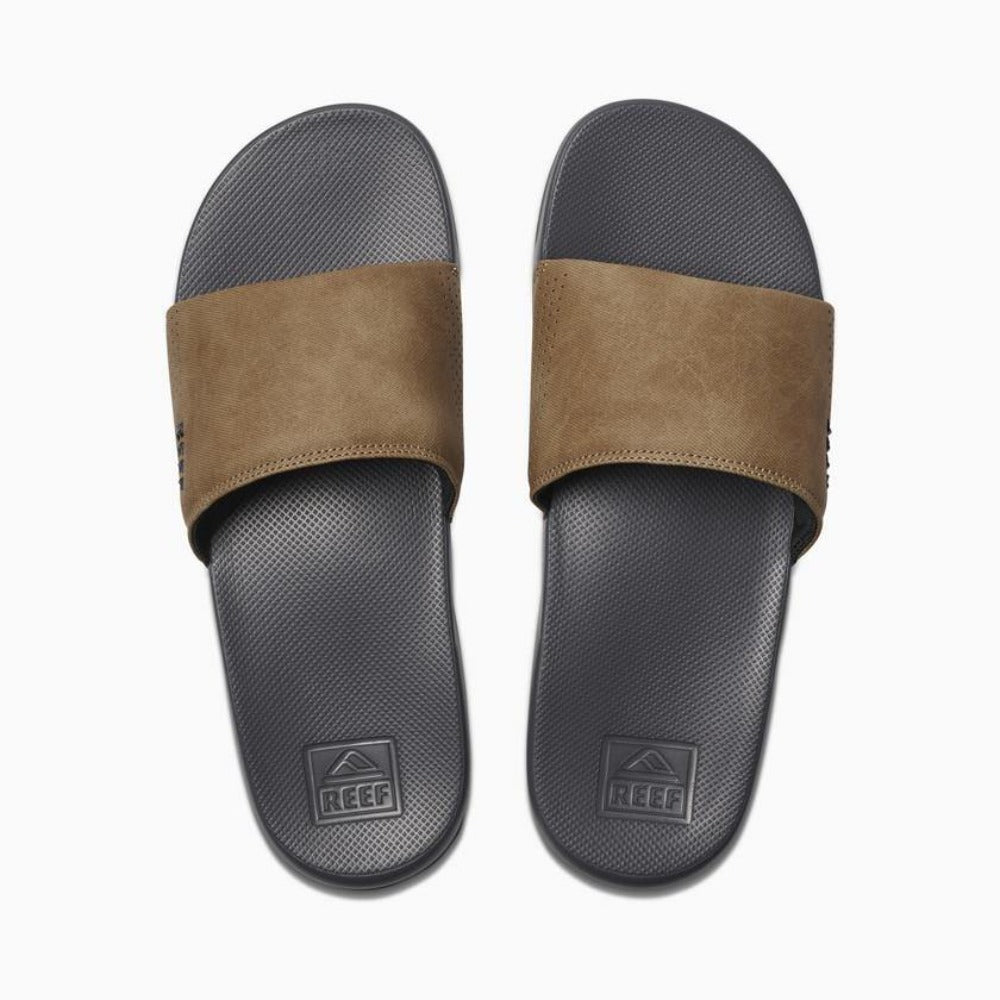 Reef One Slide Flip Flops: Grey/Tan - Mens