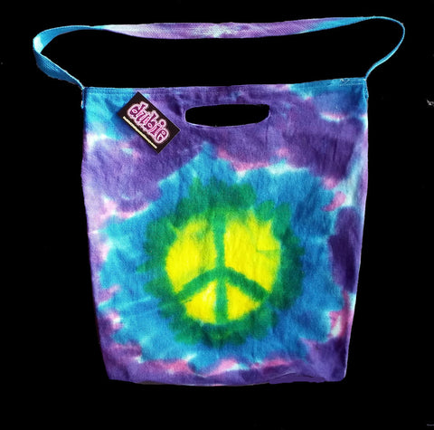 World Peace Tie Dye American Apparel Bull denim Tote Bag